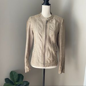 Sebby Collection Faux Tan Zip Up Leather Jacket